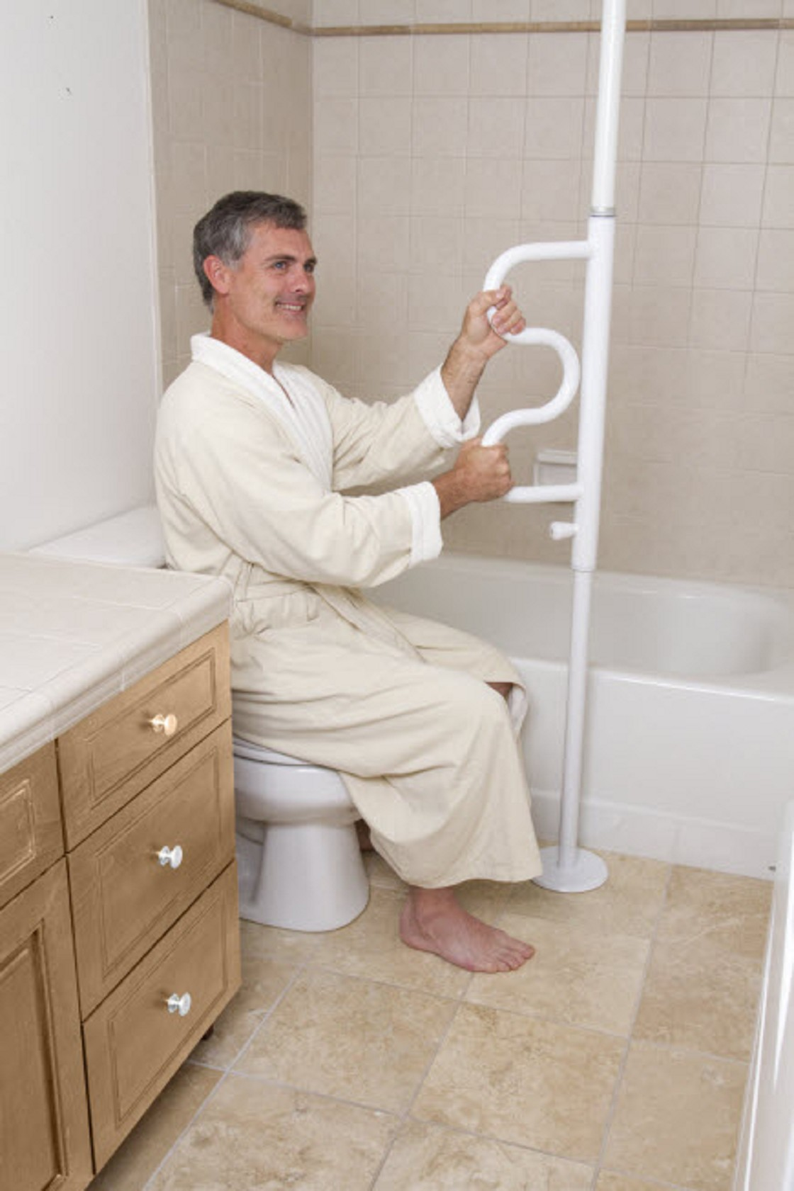 Security Pole and Curve Grab Bar. Bathroom Support Rails   Grab Bars   Shower Grab Bars   ON SALE