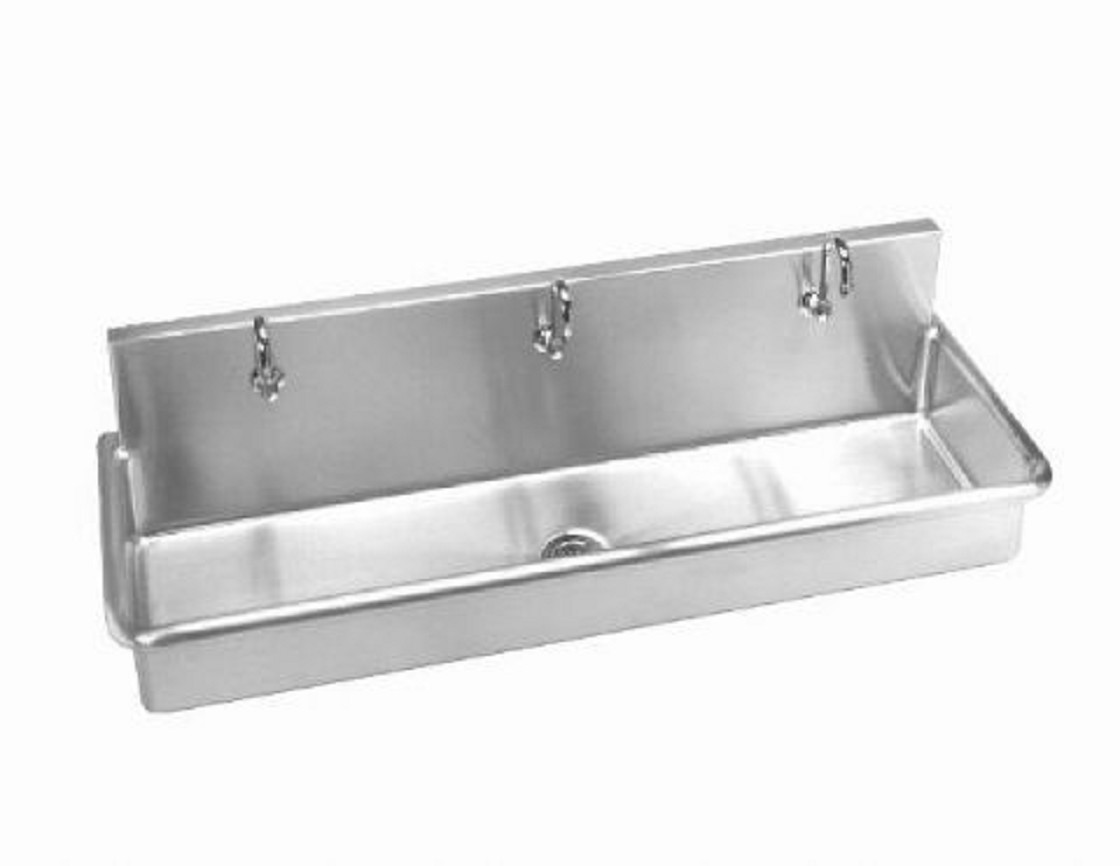 Stainless Steel Wall Hung 70in W Multi Station Wash Up Sink