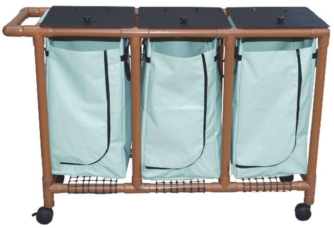 Wood tone triple bag laundry hamper free shipping - Way laundry hamper ...