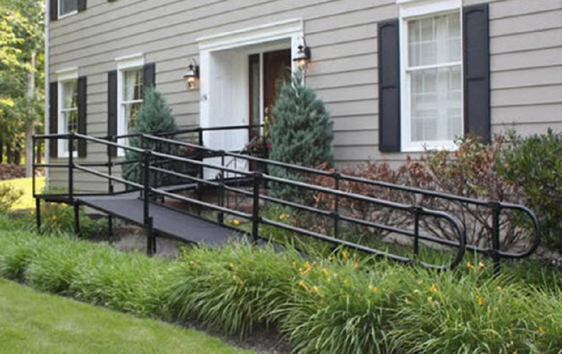 Steel modular wheelchair ramp by national ramp ada compliant for Ada home